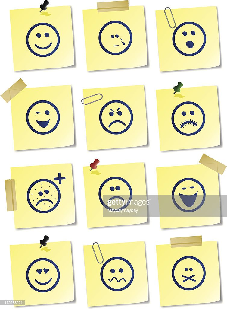 Smiley sticky notes : stock vector