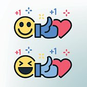 Smiley, thumb up and heart. Vector colored lines icons. Template for the holiday, sales and discounts.