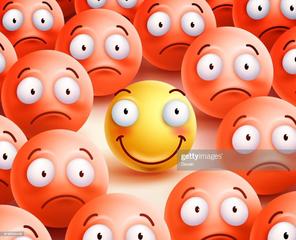 Smiley vector character the only  smile face showing happiness
