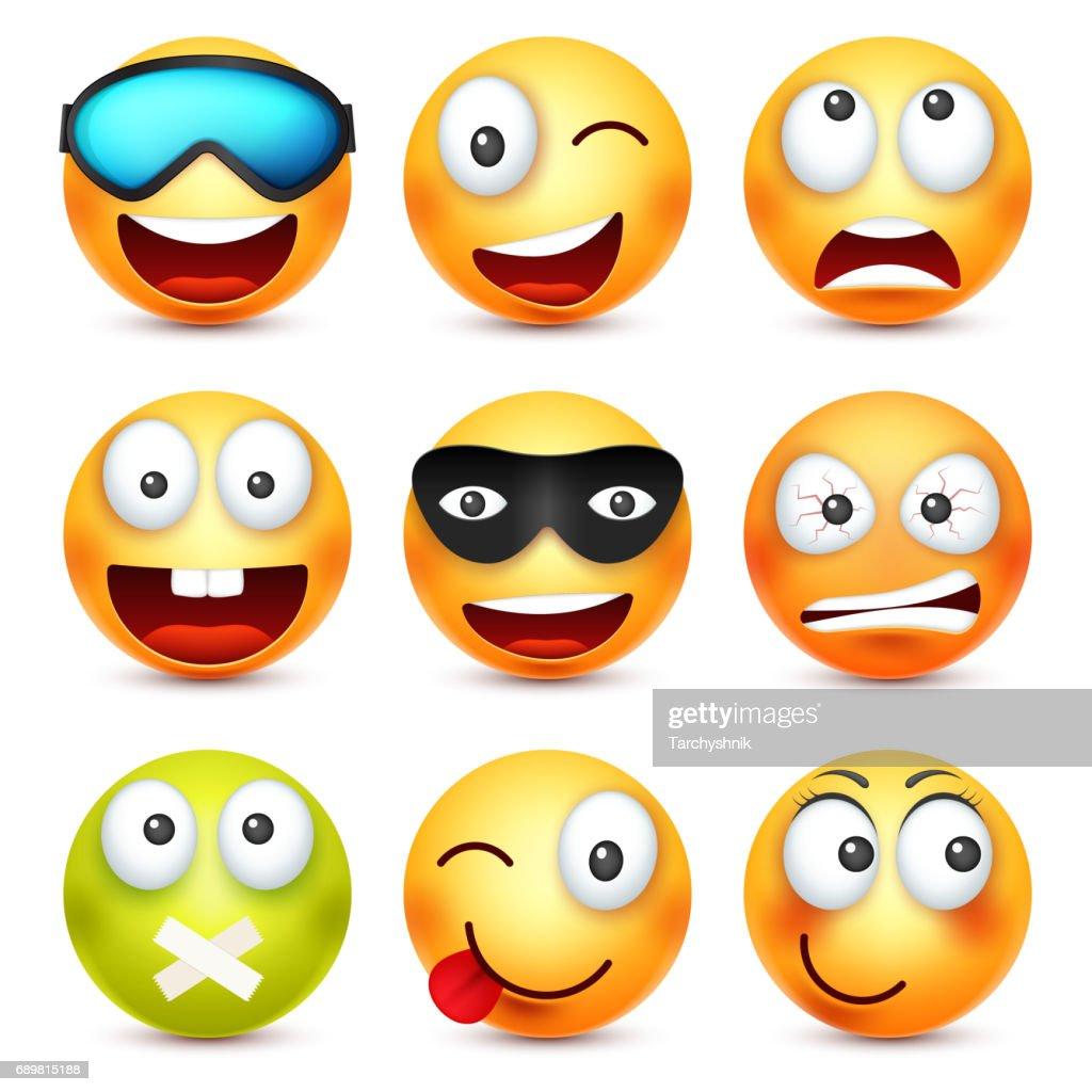 Smiley Avec Des Glaces Souriant Fache Triste Emoticone Heureuse Visage Jaune Avec Des Emotions Expression Faciale Emoji 3d Realiste Caractere Drole De Dessin Anime Humeur Icone Web Illustration De Vecteur Illustration