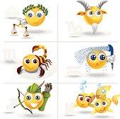 Smiley Zodiac Set - Libra, Scorpio, Sagittarius, Capricorn, Aquarius, Pisces