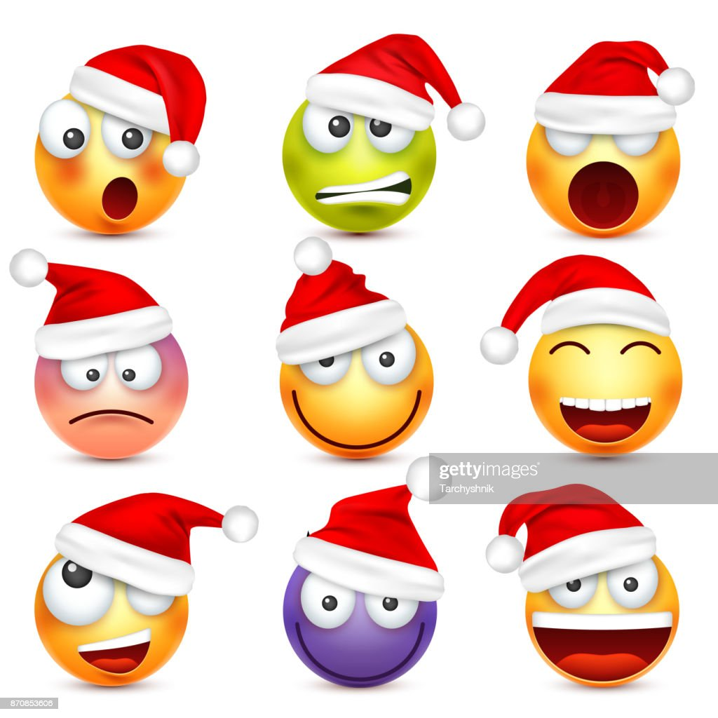 smileyemoticon set yellow face with emotions and christmas hat new year santawinter emoji sadhappyangry facesfunny cartoon charactermood vector - Christmas Smiley Faces
