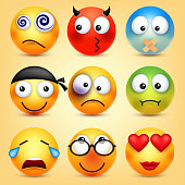 Smiley,emoticons set. Yellow face with emotions. Facial expression. 3d realistic emoji. Funny cartoon character.Mood. Web icon. Vector illustration