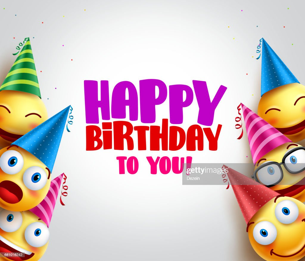 Smileys vector background with happy birthday greeting, funny smileys