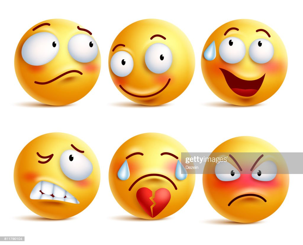 Smileys vector set. Smiley face or yellow emoticons with expressions
