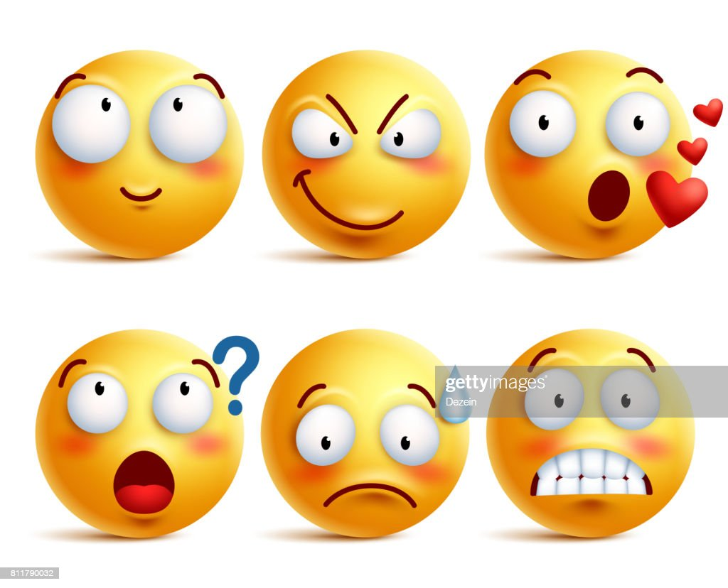 Smileys vector set. Yellow smiley face or emoticons with expressions