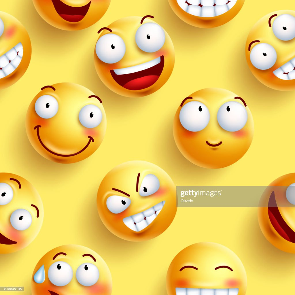 Smileys wallpaper seamless vector pattern in yellow color with continuous