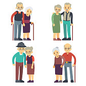 Smiling and happy old couples. Elderly families cartoon characters vector set