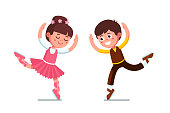 Smiling ballet dancer kids theatrical performance. Ballerina girl and boy dancing together. Children cartoon characters. Flat vector clipart illustration.