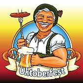 Smiling Bavarian man with beer and smoking sausage