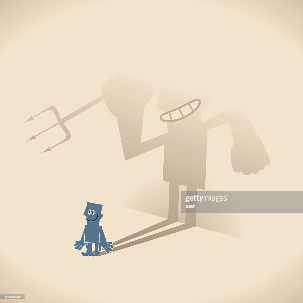 Smiling blue guy businessman and weird devil shaped shadow : stock illustration