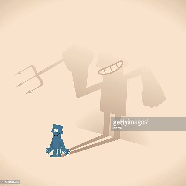Smiling blue guy businessman and weird devil shaped shadow
