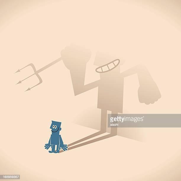 ilustrações, clipart, desenhos animados e ícones de homem casting uma caverna em forma de sombra - office politics