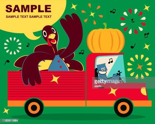 ilustraciones, imágenes clip art, dibujos animados e iconos de stock de hombre azul sonriente conduciendo un camión que lleva pavo del día de acción de gracias - camionero