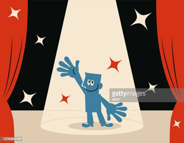 smiling blue man (host) on stage with spotlight - actor stock illustrations