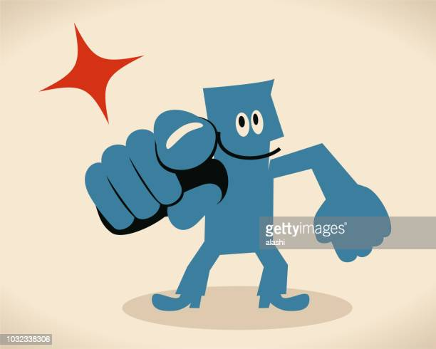 smiling blue man pointing at you with index finger - aiming stock illustrations