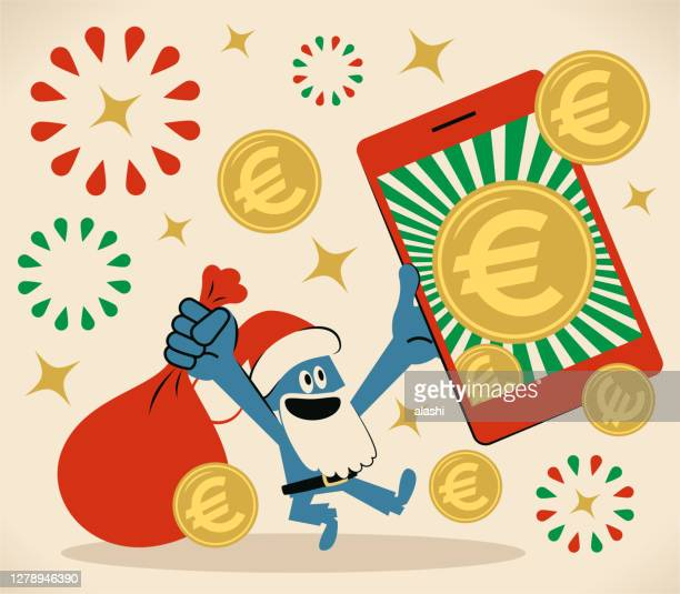 smiling blue santa claus is holding a sack and a smartphone with european union currency (euro sign coin); merry christmas and new year greeting - christmas cash stock illustrations