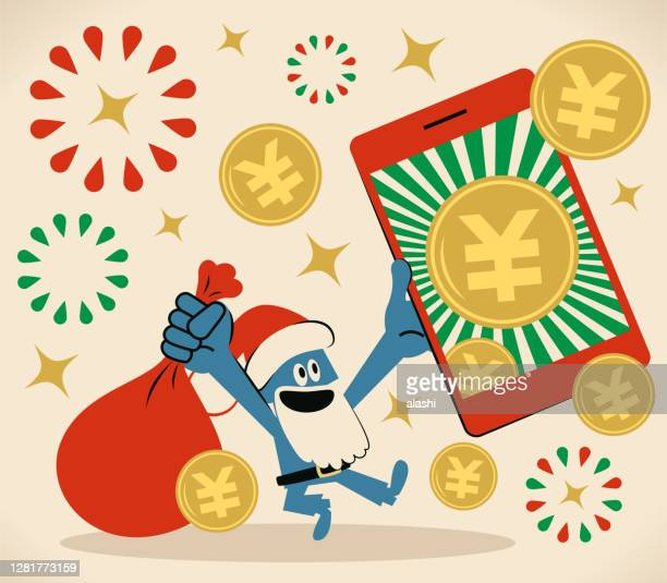 smiling blue santa claus is holding a sack and a smartphone with yuan or yen sign coin (chinese, taiwanese or japanese currency); merry christmas and new year greeting - christmas cash stock illustrations