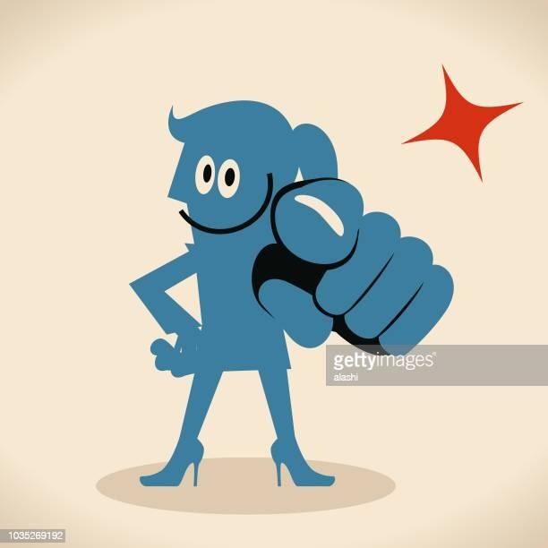 ilustrações de stock, clip art, desenhos animados e ícones de smiling blue woman pointing at you with index finger - direitos humanos