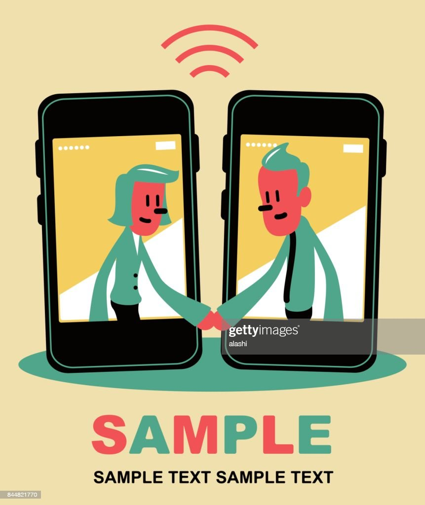 Smiling Business Man And Woman Inside A Smart Phone With A Handshake