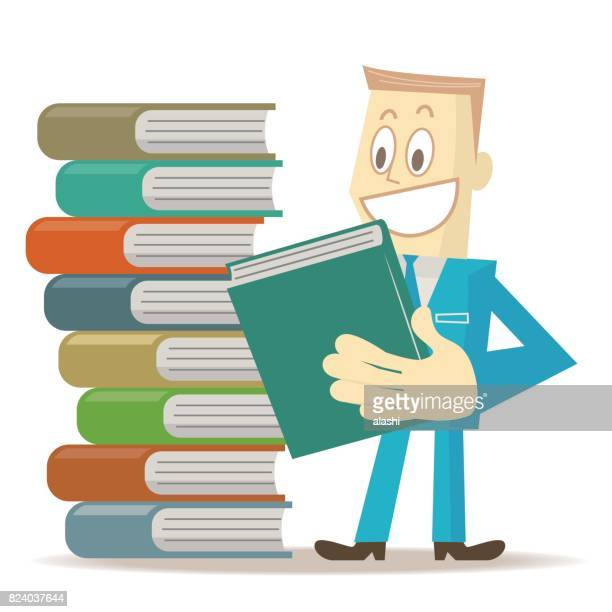 Smiling business man is taking a book and standing by a stack of books (formalwear)