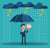 Smiling business man standing with umbrella under thunderstorm protecting house