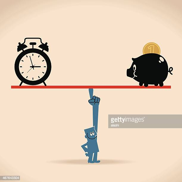 Smiling businessman balance a seesaw with clock and piggy bank