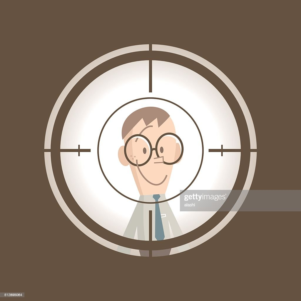 Smiling businessman standing in the crosshairs center rifle (gun) sight