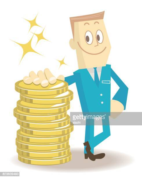 Smiling businessman standing leaning on a stack of gold coins (money)