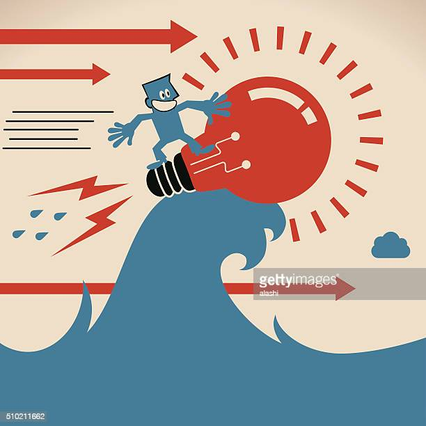 smiling businessman surfing on sea wave with idea light bulb - giant stock illustrations, clip art, cartoons, & icons