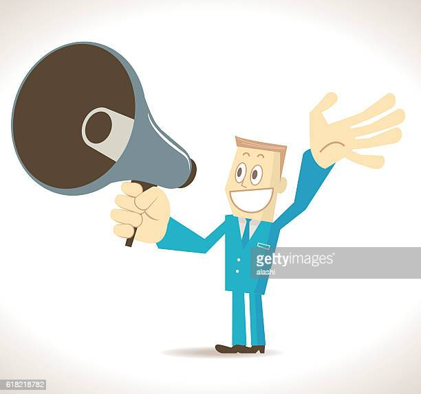Smiling businessman (politician, detective) with megaphone