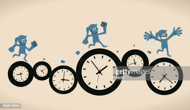 Smiling Businesswoman (woman, girl) running on group of time clocks