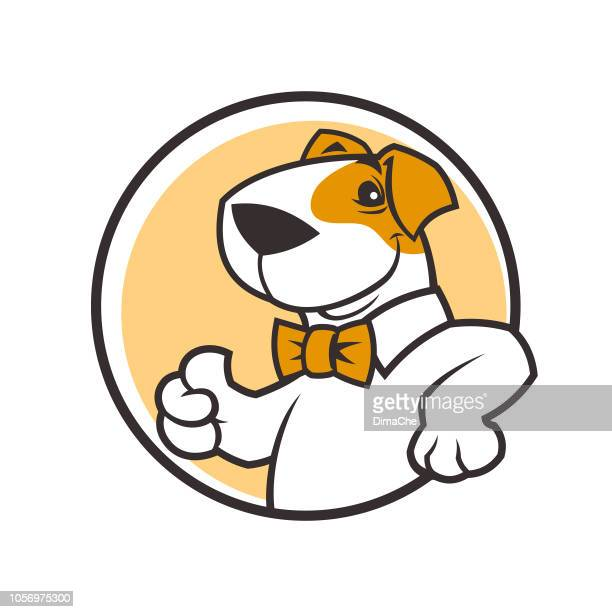 Smiling cartoon dog character in bow tie with thumb up