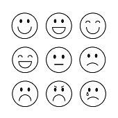 Smiling Cartoon Face People Emotion Icon Set