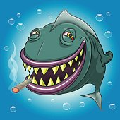 Smiling cartoon fish smoking marijuana