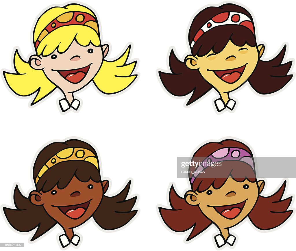 smiling cartoon heads 4 ethnic girls vector art getty images