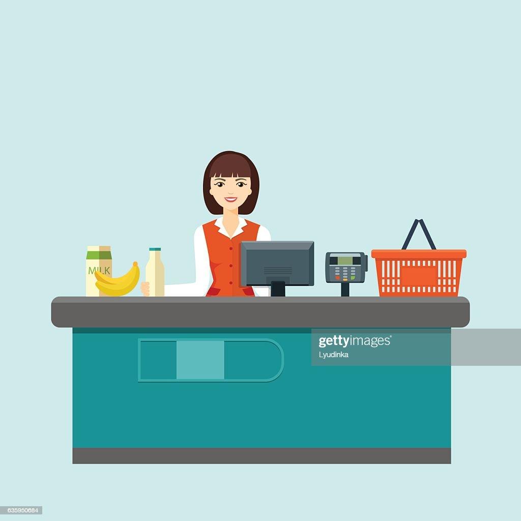 Smiling cashier sits behind the cash register. Flat vector illustration