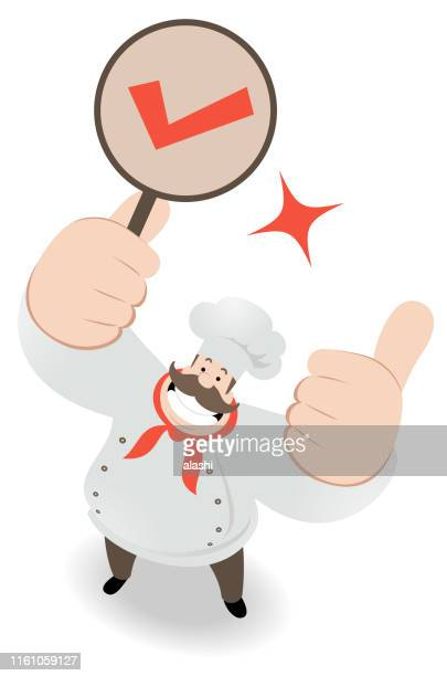 Smiling chef looking upward and gesturing thumbs up and holding OK sign (check mark, letter V)