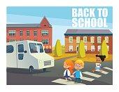 Smiling children crossing street in front of bus. Happy kids walking across pedestrian crosswalk against buildings on background. Back to school concept. Vector illustration for website, banner, ad.