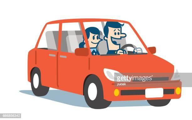 bildbanksillustrationer, clip art samt tecknat material och ikoner med leende par i bilen - partire