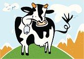 Vaca sonriente moviendo la cola