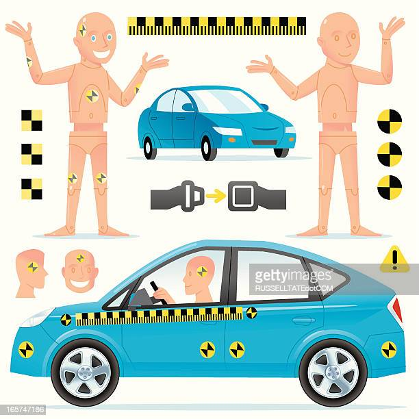 smiling crash dummies - graphic car accidents stock illustrations