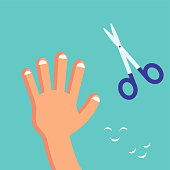 Smiling Cute Cutting nails to a child, Habituate kid card or poster.