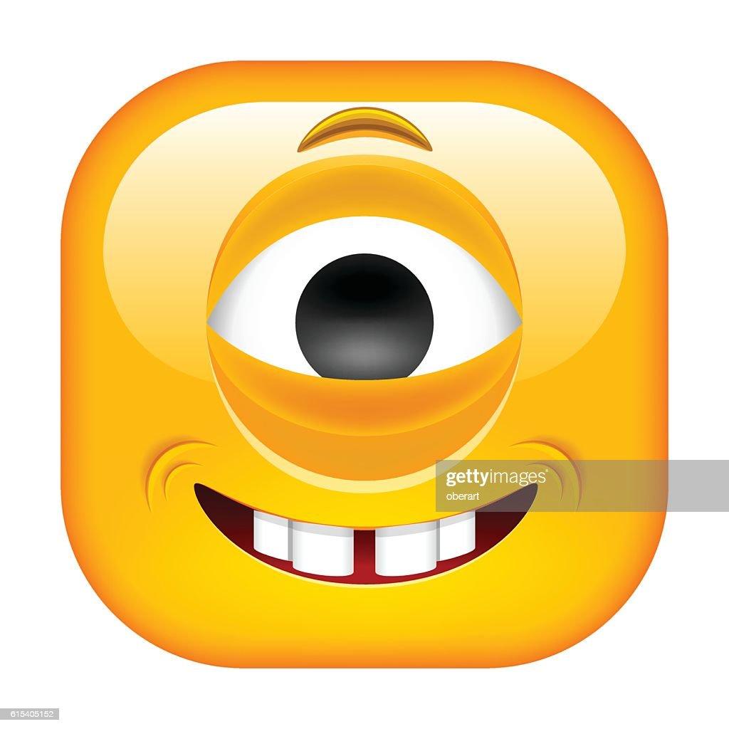 Smiling Cyclop Emoticon.