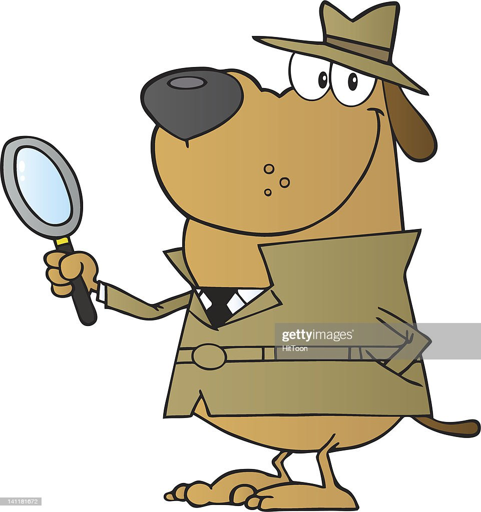 Smiling Detective Dog Holding A Magnifying Glass