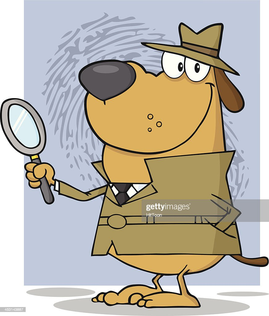 Smiling Detective Dog Holding A Magnifying Glass With Background