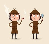 Smiling detective woman character looking through magnifying glass and smoking pipe