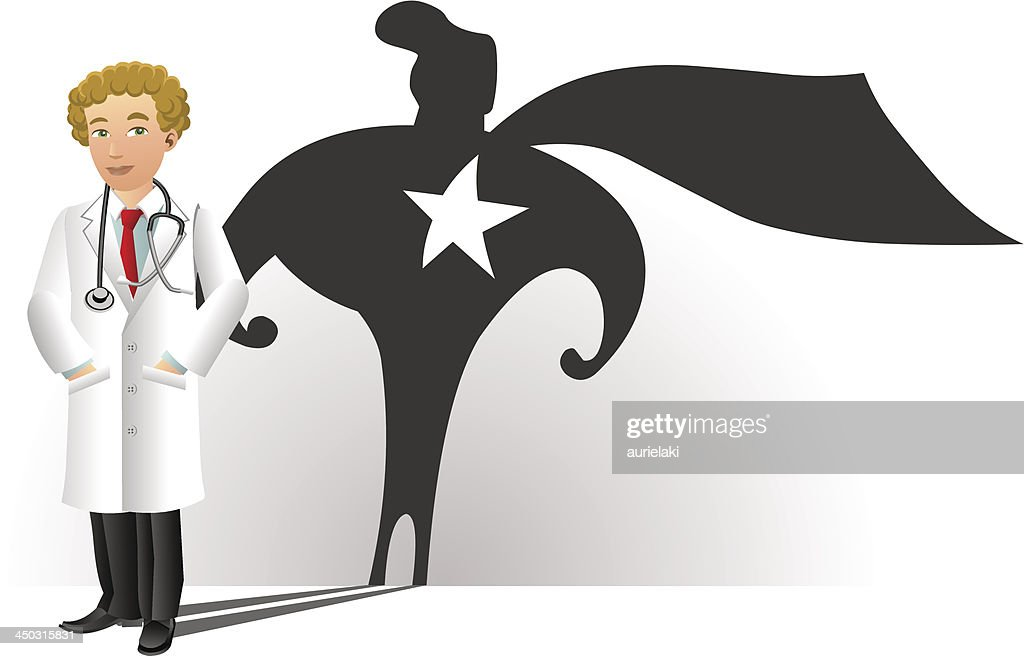 Smiling Doctor with Superhero Silhouette