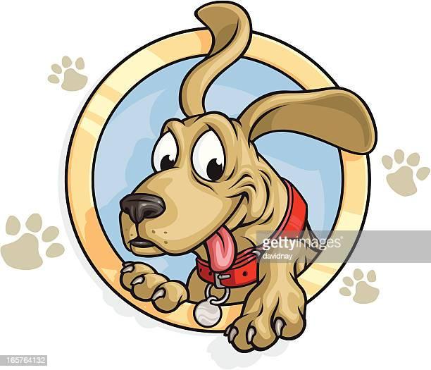 illustrations, cliparts, dessins animés et icônes de souriant chien mascotte - chien humour