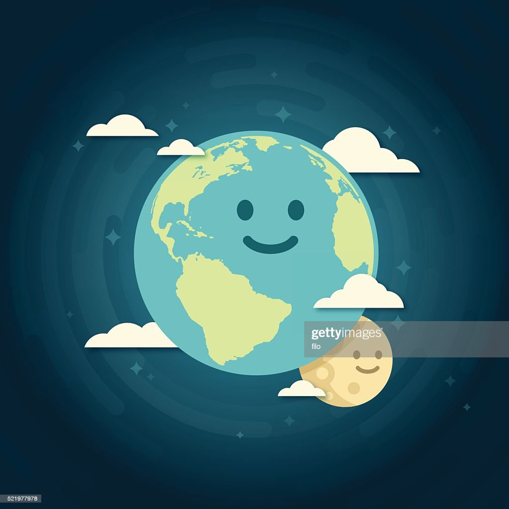 Smiling Earth and Moon : stock illustration